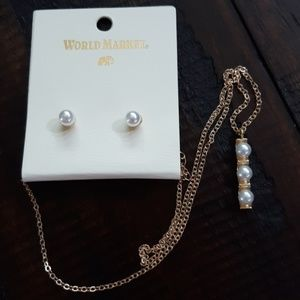 World Market Pearl Earrings and Necklace